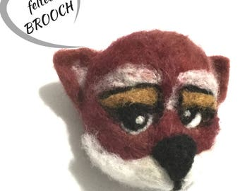 Needle Felted Fox Brooch, Designer Brooch, Felted Jacket Pin, Versatile as a Pendant or Fridge Magnet Needle Felted Jewellery