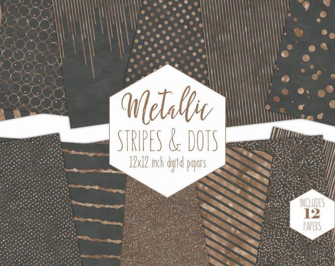 GRAY & ROSE GOLD Digital Paper Pack Stripe Backgrounds Metallic Foil Confetti Wedding Scrapbook Paper Polka Dot Slate Party Decor Clipart