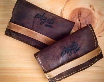 Dark Brown Rolling Tobacco Leather Pouch, Smoker Gift, Cigarette Leather Case, Boyfriend Gift Ideas, Valentines for Him, Stocking Stuffer
