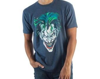 Mens Official Merchandise Joker Head Blue T-Shirt