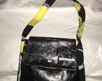 Black leather handmade handbag