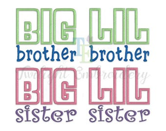 Set of 4 Big Brother Applique Little Brother Applique Embroidery Design, Big Sister Applique Little Sister Applique Embroidery Design 0072