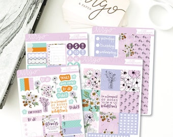 Horizontal Kit - Wildflower Floral Planner Sticker Kit - Weekly Sticker Kit Horizontal Planner - Fall Autumn Floral Glossy or Matte WIKH