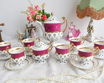 Teapot set vintage tea pot set porcelain tea set for six tea cup set porcelain teacup set pink porcelain teaset coffee cup gift teapot set