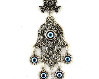 Handmade Hand of Hamsa / Fatima Evil Eye – Nazar Alloy Wall Hanging