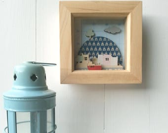 Mini Diorama - Wooden Picture - Harbour Diorama - Hand Printed and Painted on Wood - 3d Picture - Nautical Picture - Harbour Picture