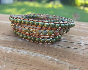 3x Green earth tone wrap bracelet