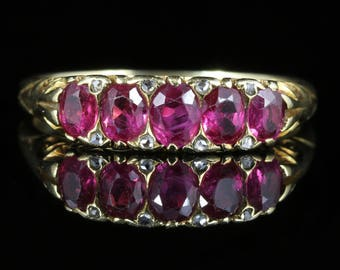 Antique Victorian Burmese Ruby Diamond Ring 18ct Gold Certified
