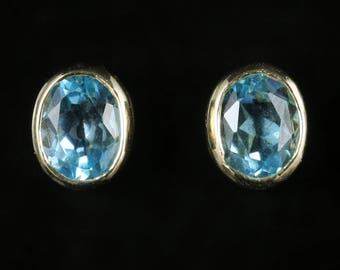 Blue Topaz Earrings 9ct Yellow Gold