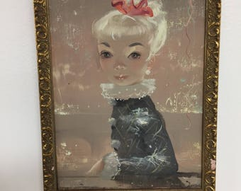 Beautiful blue eyed girl with blond hair original oil painting on canvas  with gold frame