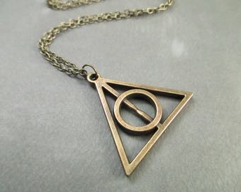 Antique Brass Deathly Hallows . Harry Potter Jewelry . Necklace