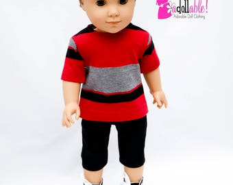 American made Boy Doll Clothes, 18 inch Boy Doll Clothing, Tee shirt with black shorts, made to fit like American girl doll clothes