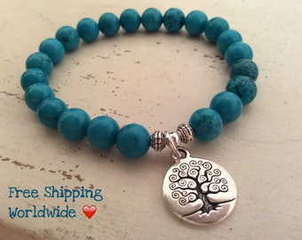 Tree of Life, Calming Bracelet, Turqoise Bracelet, Yoga Mala,  Relaxation Beads, Yoga Mala Bracelet, Angelite Bracelet, Wrist Mala, Healing
