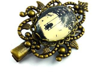 Hair clip romantic beige and black cabochon swing retro glass