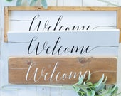 Welcome Sign, Wood Sign, ...