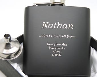 Engraved Stainless Steel (Black) 6oz Hip Flask - Funnel & Gift Box