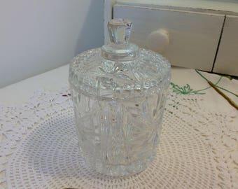 Glass jam pot, preserve pot, pressed glass, vintage glass, jam pot and spoon, EPNS spoon, vintage glass,