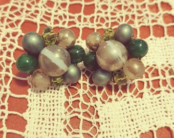 Vintage Pearly Cluster Earrings