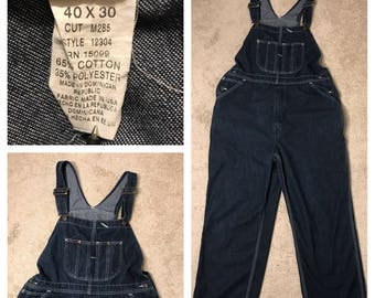 Sears Roebucks // vintage overalls bibs // dark denim // 40x30 40x28 // mens work outdoor farmer hunting fishing