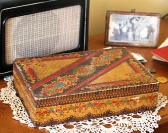 Large Antique Wooden Box - Keepsake Box - Shaving Box - Old Wooden Box - Trinket Box - Memory Box - Box with Lid - Rustic Home