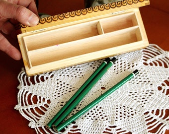 Wooden Pen Box - Pencil Box - Pencil Case - Hand Carved Wood Box - Vintage Wooden Box - Back To School - Trinket Box - Artist Box