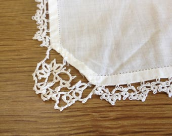 Vintage 1950's White Cotton Ladies Hankerchief with Crocheted Lace Detailed Corner - In good condition.