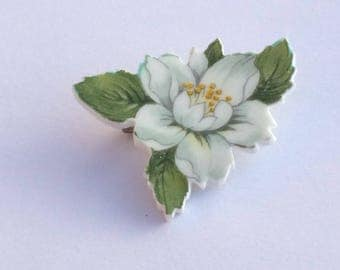 White Flower Brooch/ Vintage Cut China Magnolia Brooch Pin/ White Floral Upcycled China Pin/ 2nd Anniversary Gift For Her