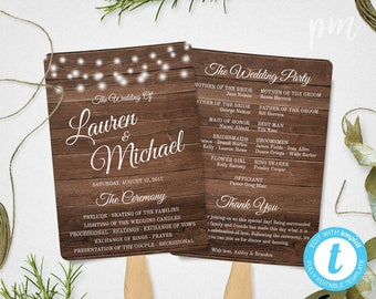 Rustic Wedding Program Fan Template, Rustic Wedding Fan Program Template, Ceremony Program, Country Wedding Fans