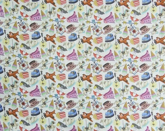 """Multicolor Hand Printed Fabric, Dress Material, White Fabric, Upholstery Fabric, 46"""" Inch Cotton Fabric By The Yard ZBC8572A"""