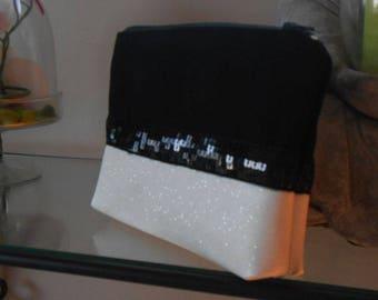 sparkling ivory and black makeup bag
