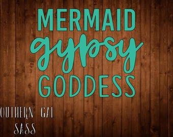 Mermaid Gypsy Goddess Vinyl Decal