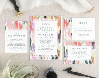 Boho Wedding Invitation Printable - Abstract Art Printable Wedding Invitation Suite - Modern Wedding invite - Wedding Invitation Set