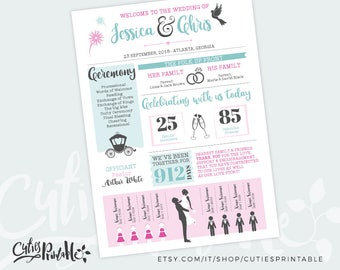 Infographic Wedding Program Design Silhouettes • All customizable • ANY Colors • Printable PDF