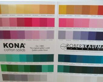 Kona Solids Robert Kaufman Color Card Swatches - Newest Version 303 colors - Kona Cotton Solids
