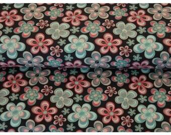Flowers, Cotton Lycra Jersey Knit Fabric