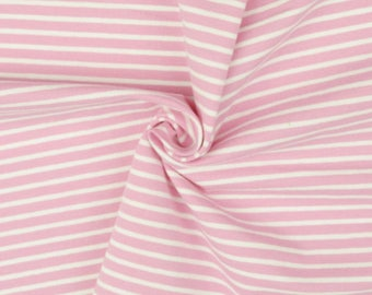 Pink and White Stripe Cotton Lycra Jersey Knit Fabric