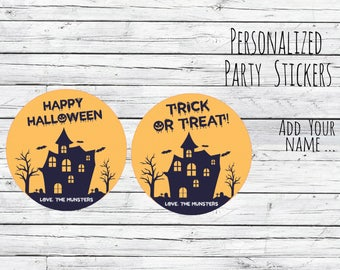 Personalized Trick or Treat Stickers, Halloween Stickers,Halloween Spiders,Halloween Party favors, Hallloween labels, Halloween Treats