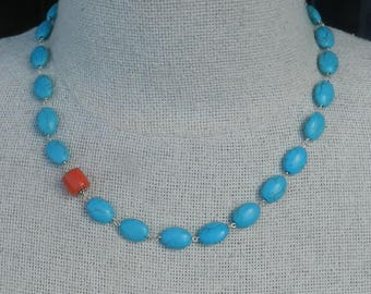 Stone Necklace - Turquoise Necklace - Blue Turquoise - Salmon Bamboo Coral - Beaded Necklace