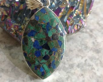 Copper Azurite Pendant Necklace