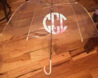 Clear Dome Monogrammed Umbrella