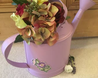 Up Cycled Watering Can Hand Decorated with Floral Embellishment