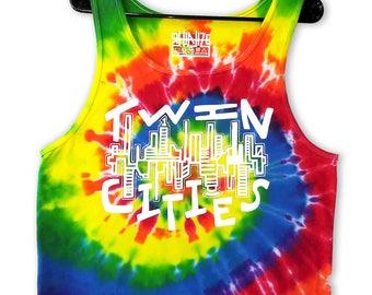 Twin Cities Pride Tie Dye Tank Tops / Rainbow Tank Top / Rainbow Clothing / Pride Clothing  / Minnesota Clothing / Midwest / Cities /