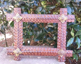 Tramp Art Frame Vintage Wood Tramp Art Frame