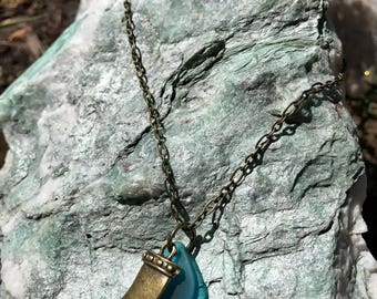 Teal Blue SeaGlass w/ Brass Tooth Charm on 23in Brass Chain