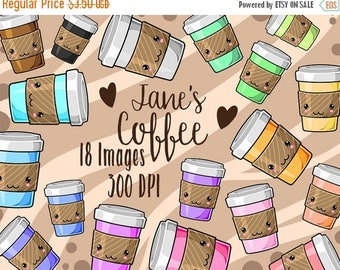 50% OFF Kawaii Coffee Clipart - Cafe Download - Instant Download - Cute Coffee Cups Set