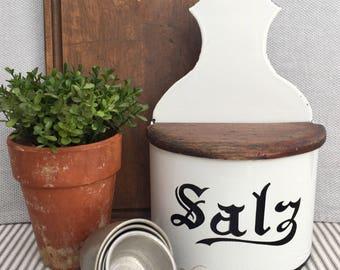 Larger White European Enamelware Salt Box with Lovely (Unattached) Wood Lid & Black/Lettering Trim, Item No. 1856