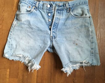 vintage levis 501xx red tab silver tab denim blue jean cut off shorts made in usa w 32