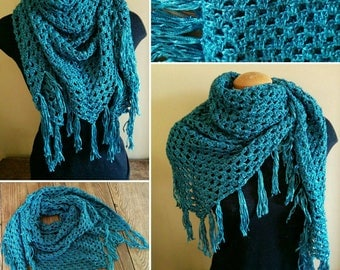 Crocheted Triangular Wrap, Teal Scarf, Granny Scarf