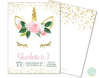 Unicorn Birthday Party Invitation   Gold Unicorn Invitation - 5x7 with reverse side