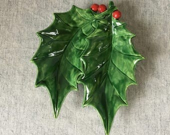 Vintage Ceramic Holly Leaves with Berries Mint or Candy Dish, Atlantic Mold Relish Dish